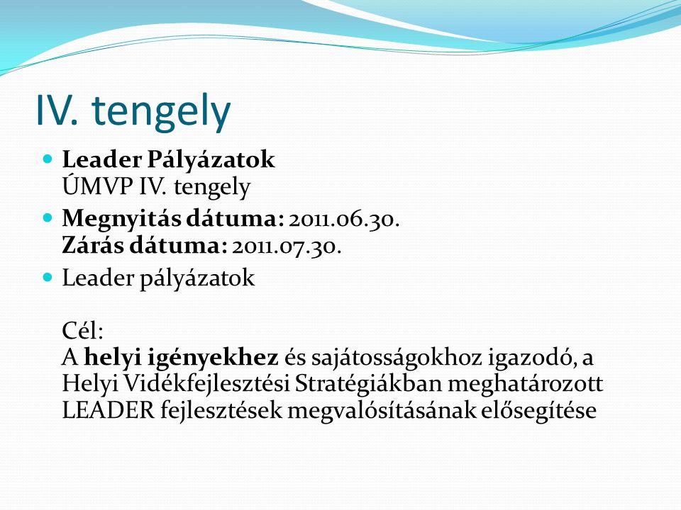 IV. tengely  Leader Pályázatok ÚMVP IV. tengely  Megnyitás dátuma: 2011.06.30.