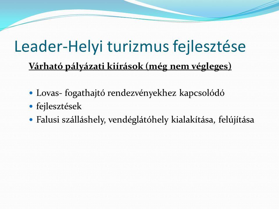 Leader-Helyi turizmus fejlesztése Várható pályázati kiírások (még nem végleges)  Lovas- fogathajtó rendezvényekhez kapcsolódó  fejlesztések  Falusi szálláshely, vendéglátóhely kialakítása, felújítása