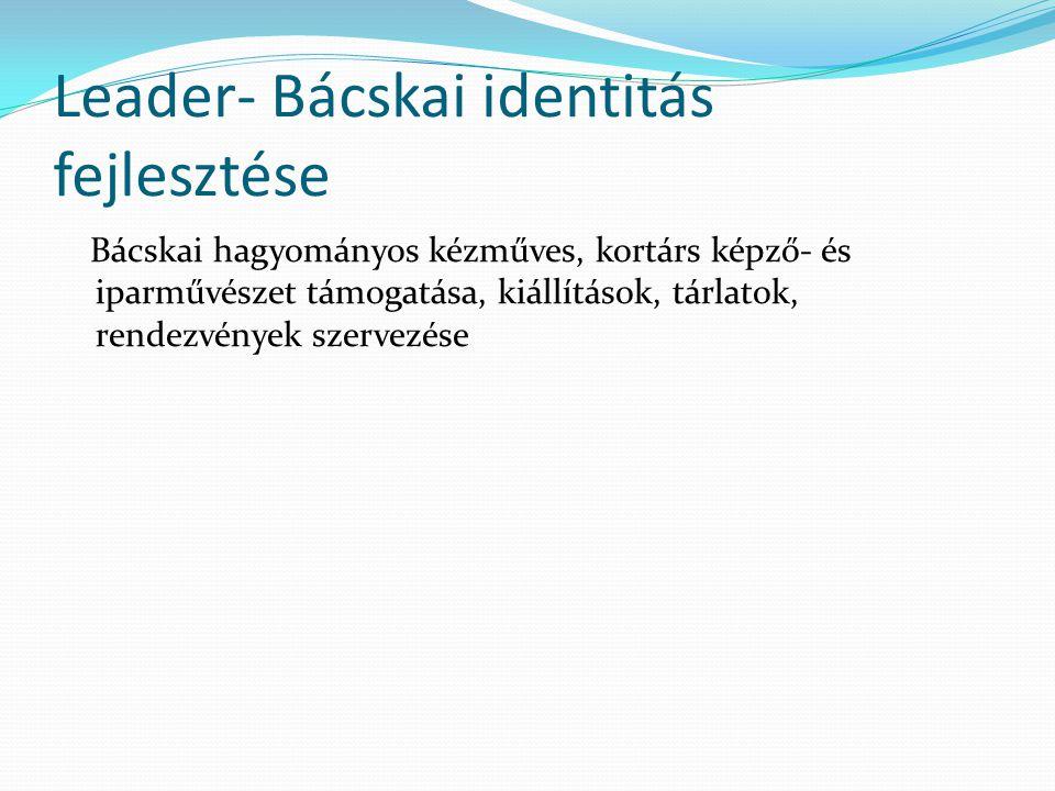Leader- Bácskai identitás fejlesztése Bácskai hagyományos kézműves, kortárs képző- és iparművészet támogatása, kiállítások, tárlatok, rendezvények szervezése