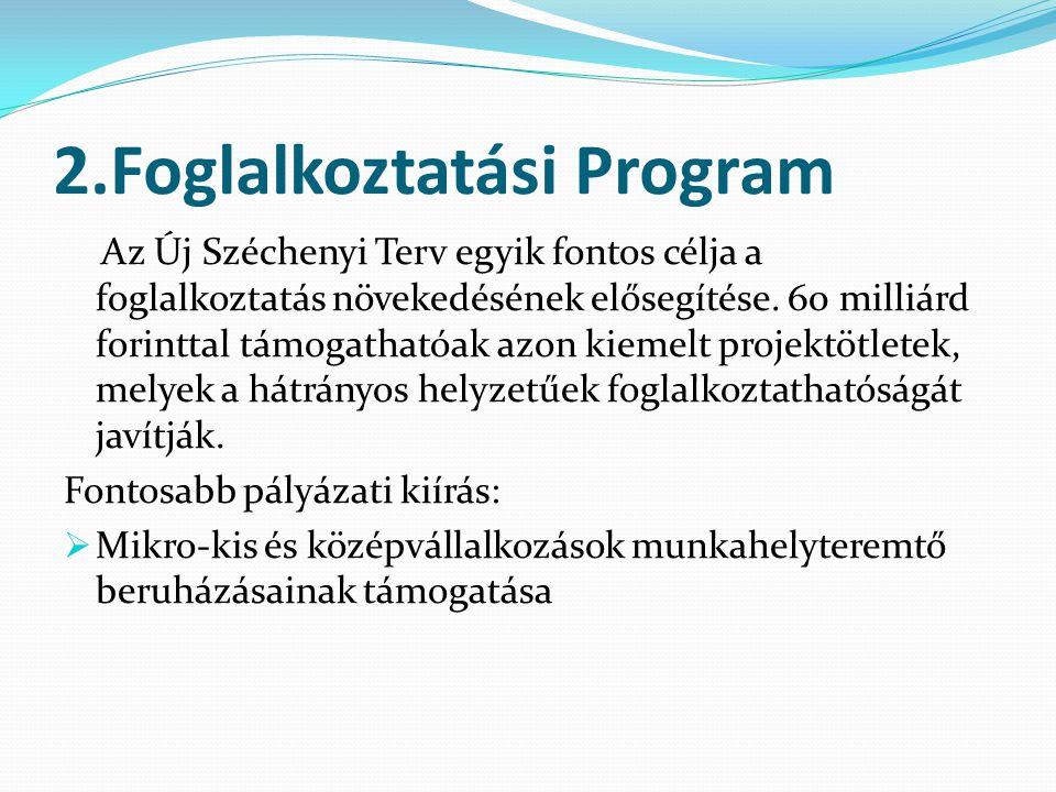 2.Foglalkoztatási Program Az Új Széchenyi Terv egyik fontos célja a foglalkoztatás növekedésének elősegítése.