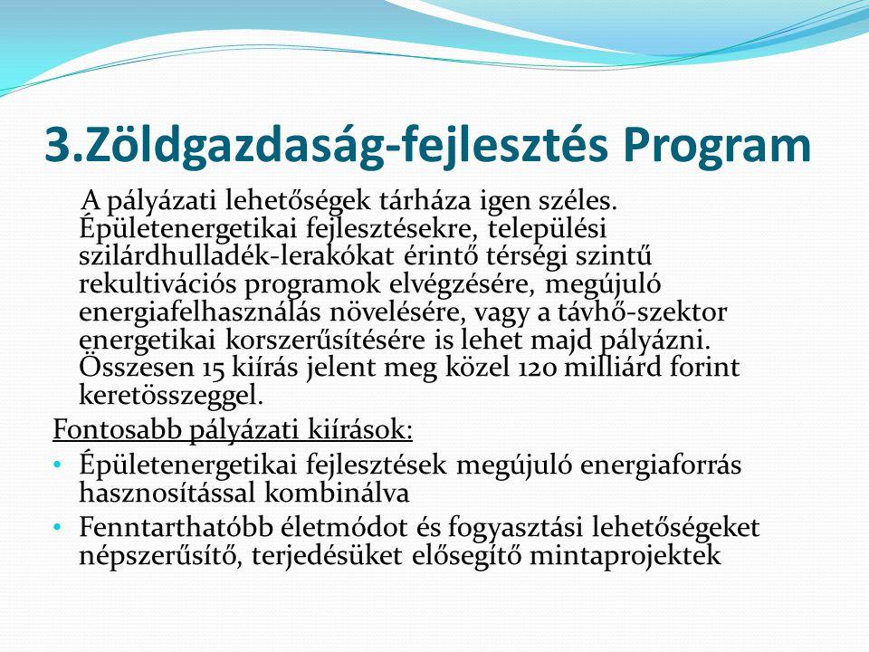 3.Zöldgazdaság-fejlesztés Program A pályázati lehetőségek tárháza igen széles.