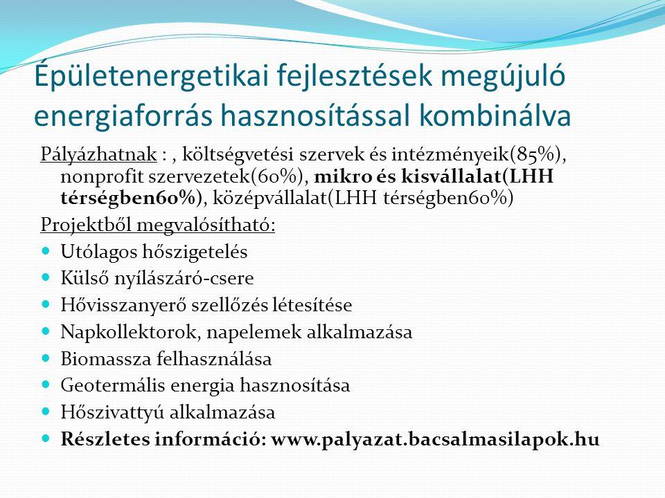 Épületenergetikai fejlesztések megújuló energiaforrás hasznosítással kombinálva Pályázhatnak :, költségvetési szervek és intézményeik(85%), nonprofit szervezetek(60%), mikro és kisvállalat(LHH térségben60%), középvállalat(LHH térségben60%) Projektből megvalósítható:  Utólagos hőszigetelés  Külső nyílászáró-csere  Hővisszanyerő szellőzés létesítése  Napkollektorok, napelemek alkalmazása  Biomassza felhasználása  Geotermális energia hasznosítása  Hőszivattyú alkalmazása  Részletes információ: www.palyazat.bacsalmasilapok.hu