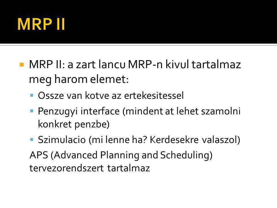 MRP II: a zart lancu MRP-n kivul tartalmaz meg harom elemet:  Ossze van kotve az ertekesitessel  Penzugyi interface (mindent at lehet szamolni konkret penzbe)  Szimulacio (mi lenne ha.