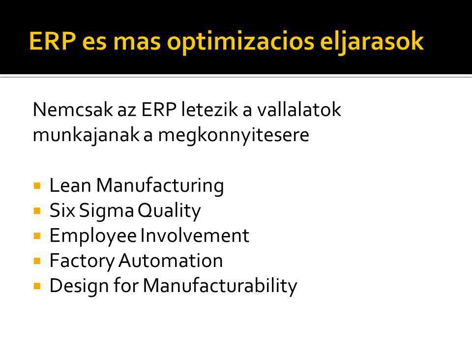 Nemcsak az ERP letezik a vallalatok munkajanak a megkonnyitesere  Lean Manufacturing  Six Sigma Quality  Employee Involvement  Factory Automation  Design for Manufacturability