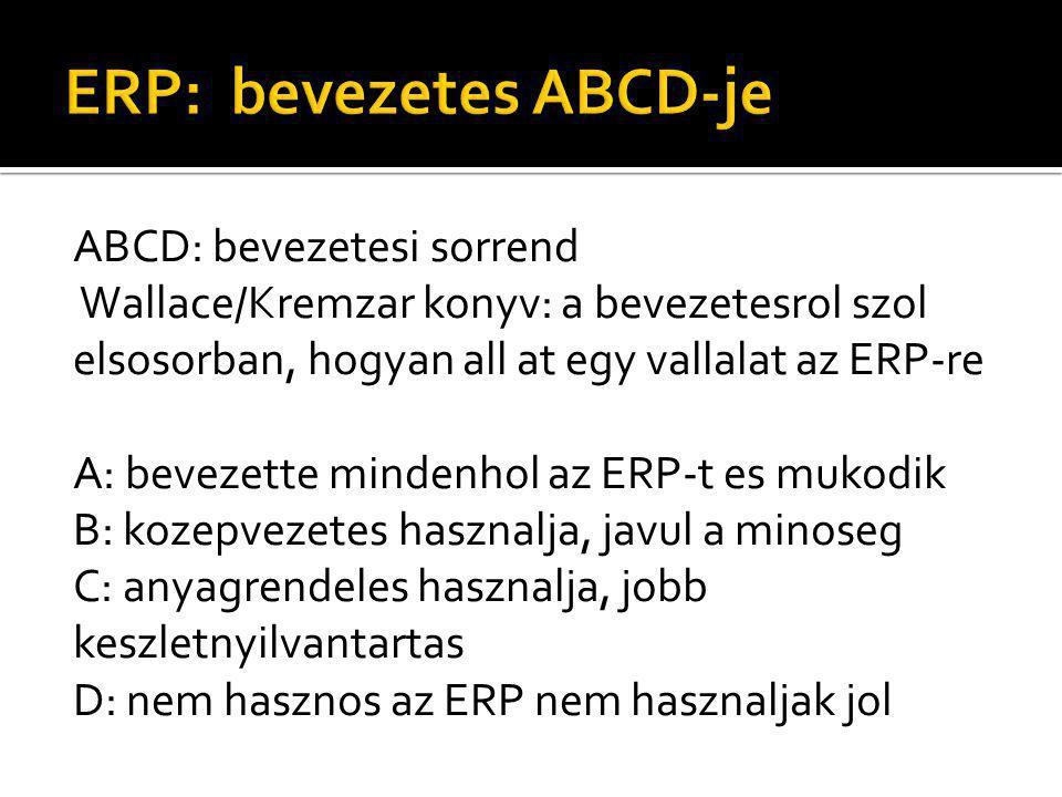 ABCD: bevezetesi sorrend Wallace/Kremzar konyv: a bevezetesrol szol elsosorban, hogyan all at egy vallalat az ERP-re A: bevezette mindenhol az ERP-t es mukodik B: kozepvezetes hasznalja, javul a minoseg C: anyagrendeles hasznalja, jobb keszletnyilvantartas D: nem hasznos az ERP nem hasznaljak jol