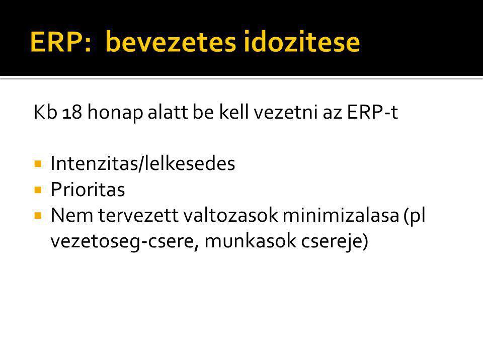 Kb 18 honap alatt be kell vezetni az ERP-t  Intenzitas/lelkesedes  Prioritas  Nem tervezett valtozasok minimizalasa (pl vezetoseg-csere, munkasok c