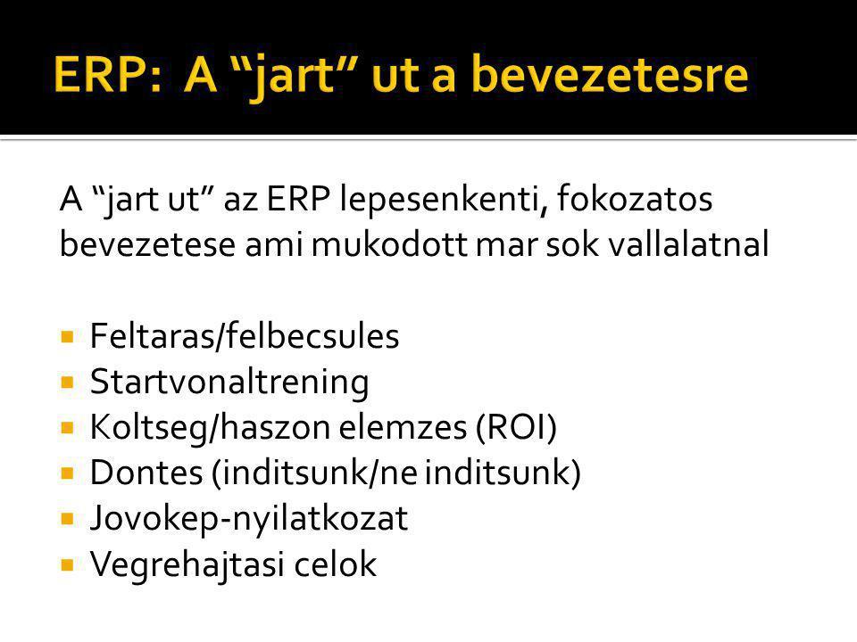 A jart ut az ERP lepesenkenti, fokozatos bevezetese ami mukodott mar sok vallalatnal  Feltaras/felbecsules  Startvonaltrening  Koltseg/haszon elemzes (ROI)  Dontes (inditsunk/ne inditsunk)  Jovokep-nyilatkozat  Vegrehajtasi celok