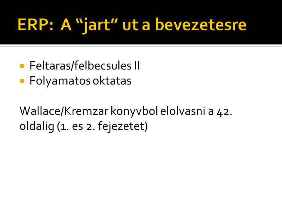  Feltaras/felbecsules II  Folyamatos oktatas Wallace/Kremzar konyvbol elolvasni a 42. oldalig (1. es 2. fejezetet)