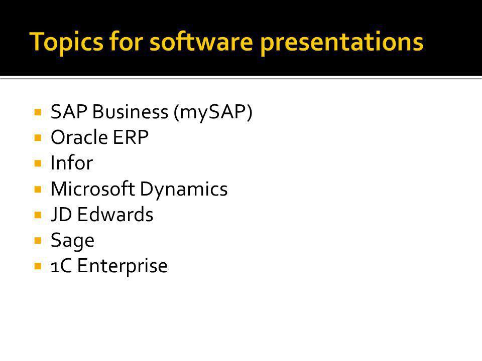  SAP Business (mySAP)  Oracle ERP  Infor  Microsoft Dynamics  JD Edwards  Sage  1C Enterprise