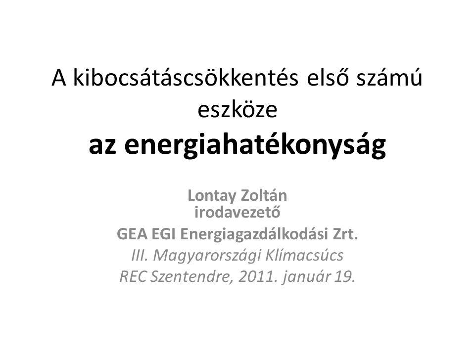 A kibocsátáscsökkentés első számú eszköze az energiahatékonyság Lontay Zoltán irodavezető GEA EGI Energiagazdálkodási Zrt. III. Magyarországi Klímacsú