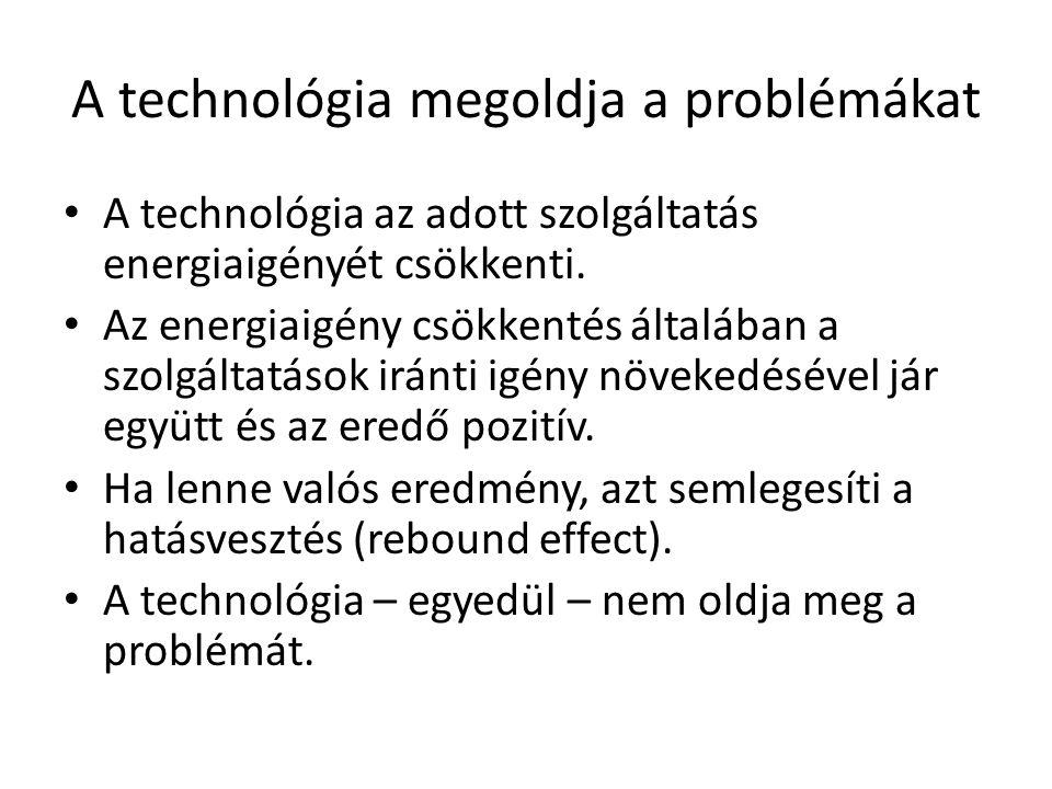 A technológia megoldja a problémákat • A technológia az adott szolgáltatás energiaigényét csökkenti. • Az energiaigény csökkentés általában a szolgált