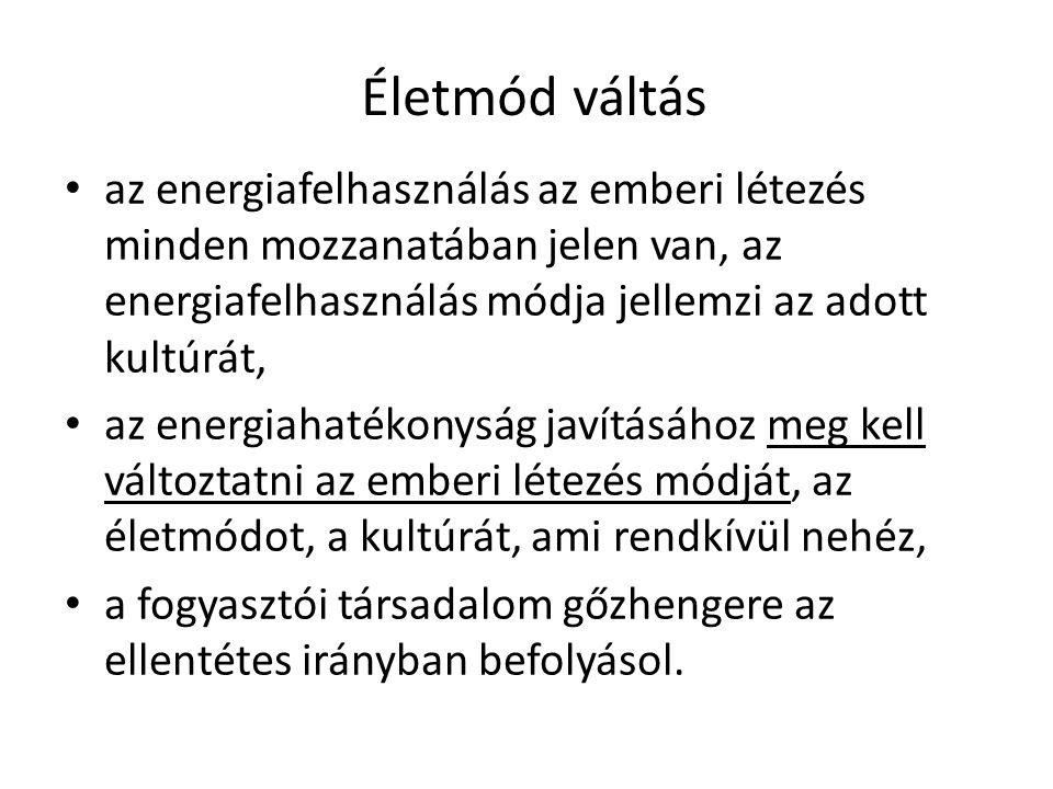 • az energiafelhasználás az emberi létezés minden mozzanatában jelen van, az energiafelhasználás módja jellemzi az adott kultúrát, • az energiahatékon