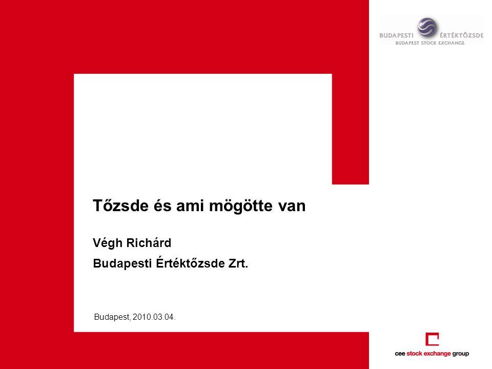 Tőzsde és ami mögötte van Végh Richárd Budapesti Értéktőzsde Zrt. Budapest, 2010.03.04.