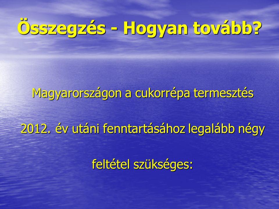 Összegzés - Hogyan tovább? Magyarországon a cukorrépa termesztés 2012. év utáni fenntartásához legalább négy feltétel szükséges: