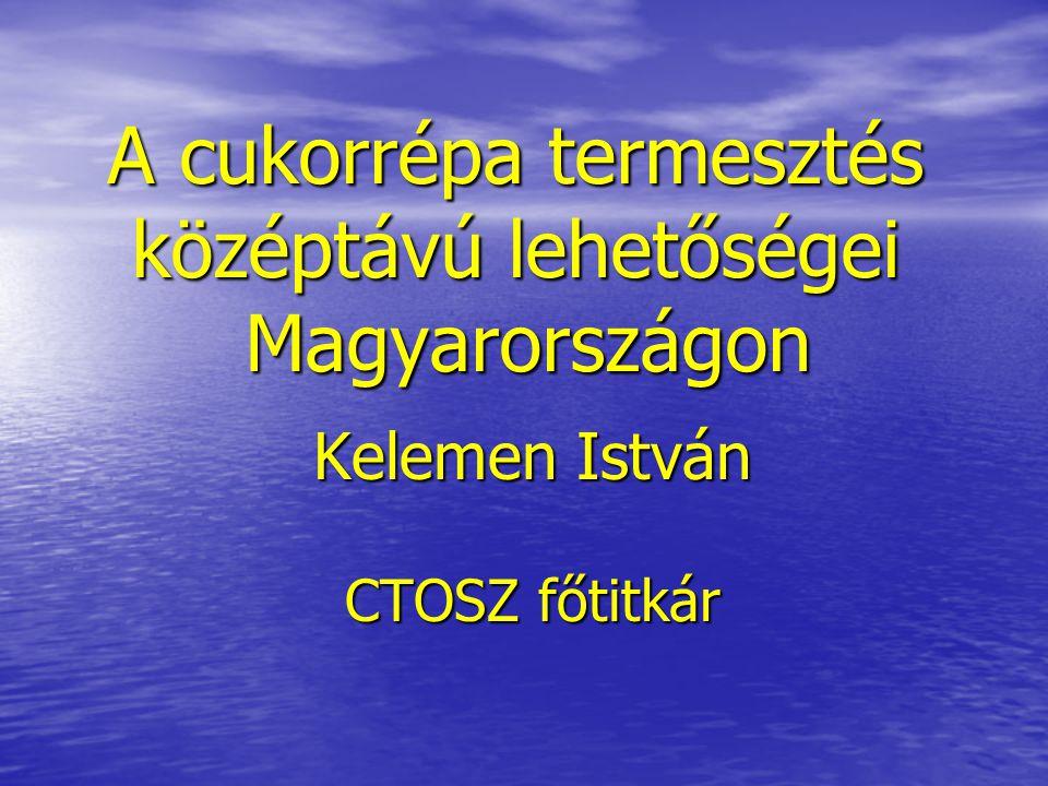 A cukorrépa termesztés középtávú lehetőségei Magyarországon Kelemen István CTOSZ főtitkár