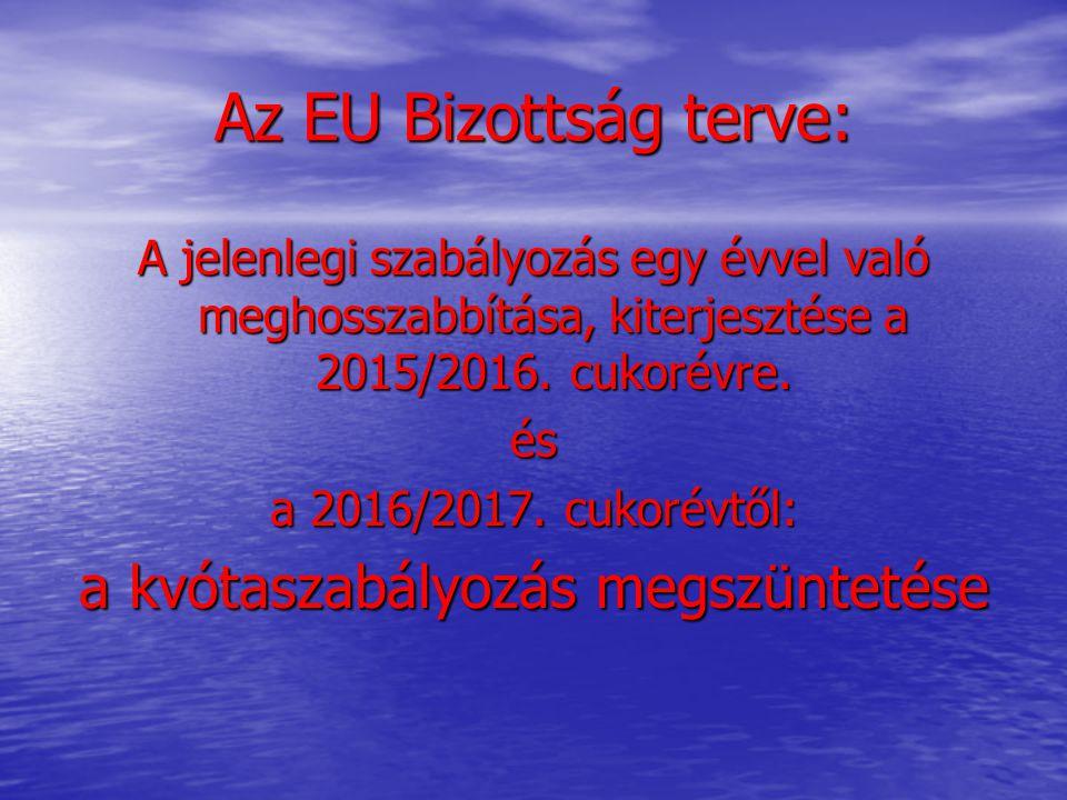 Az EU Bizottság terve: A jelenlegi szabályozás egy évvel való meghosszabbítása, kiterjesztése a 2015/2016. cukorévre. és a 2016/2017. cukorévtől: a kv