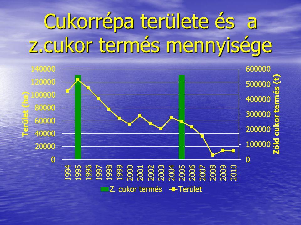Cukorrépa területe és a z.cukor termés mennyisége