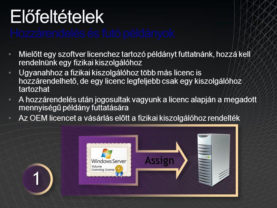 •Mielőtt egy szoftver licenchez tartozó példányt futtatnánk, hozzá kell rendelnünk egy fizikai kiszolgálóhoz •Ugyanahhoz a fizikai kiszolgálóhoz több