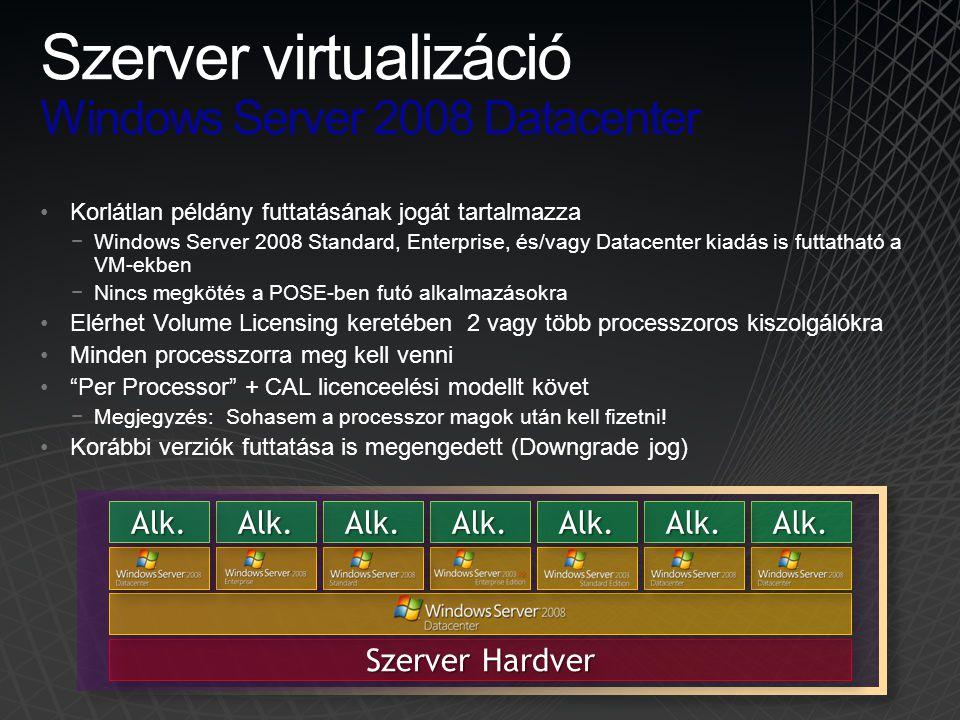 •Korlátlan példány futtatásának jogát tartalmazza −Windows Server 2008 Standard, Enterprise, és/vagy Datacenter kiadás is futtatható a VM-ekben −Nincs