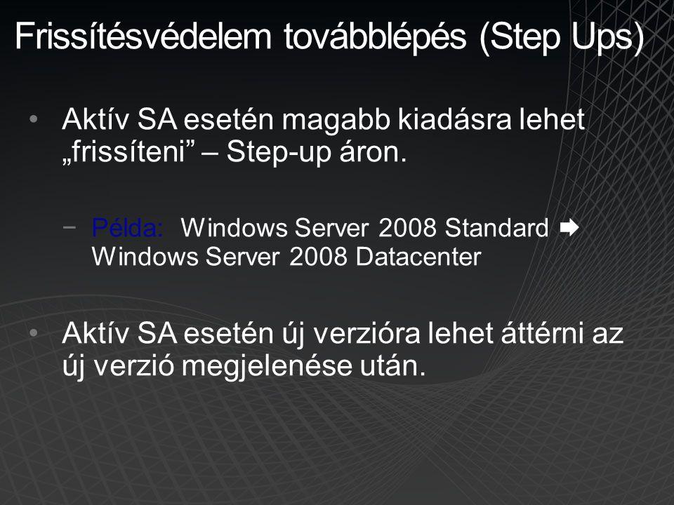 """Frissítésvédelem továbblépés (Step Ups) •Aktív SA esetén magabb kiadásra lehet """"frissíteni"""" – Step-up áron. −Példa: Windows Server 2008 Standard  Win"""