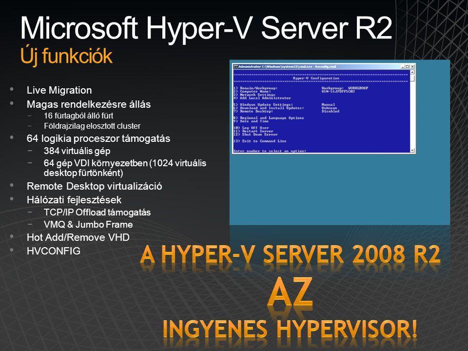 Microsoft Hyper-V Server R2 Új funkciók • Live Migration • Magas rendelkezésre állás −16 fürtagból álló fürt −Földrajzilag elosztott cluster • 64 logi