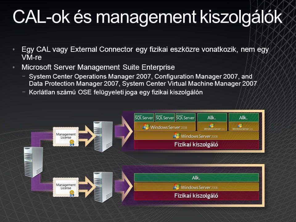 CAL-ok és management kiszolgálók •Egy CAL vagy External Connector egy fizikai eszközre vonatkozik, nem egy VM-re •Microsoft Server Management Suite En