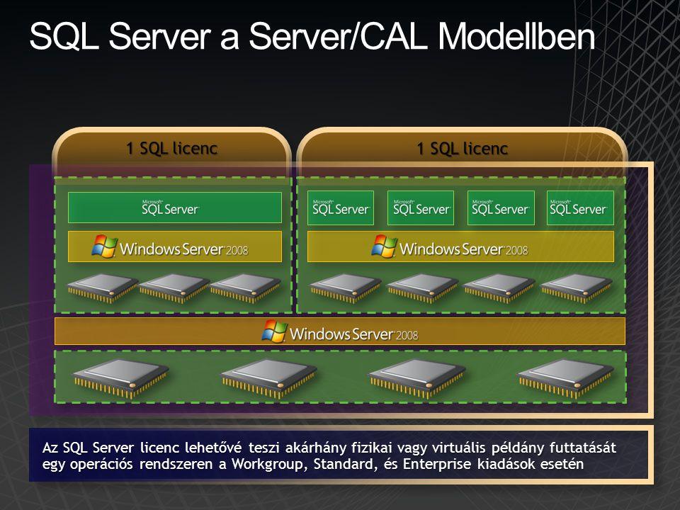 SQL Server a Server/CAL Modellben Az SQL Server licenc lehetővé teszi akárhány fizikai vagy virtuális példány futtatását egy operációs rendszeren a Wo