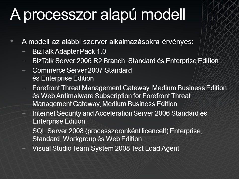 A processzor alapú modell • A modell az alábbi szerver alkalmazásokra érvényes: −BizTalk Adapter Pack 1.0 −BizTalk Server 2006 R2 Branch, Standard és