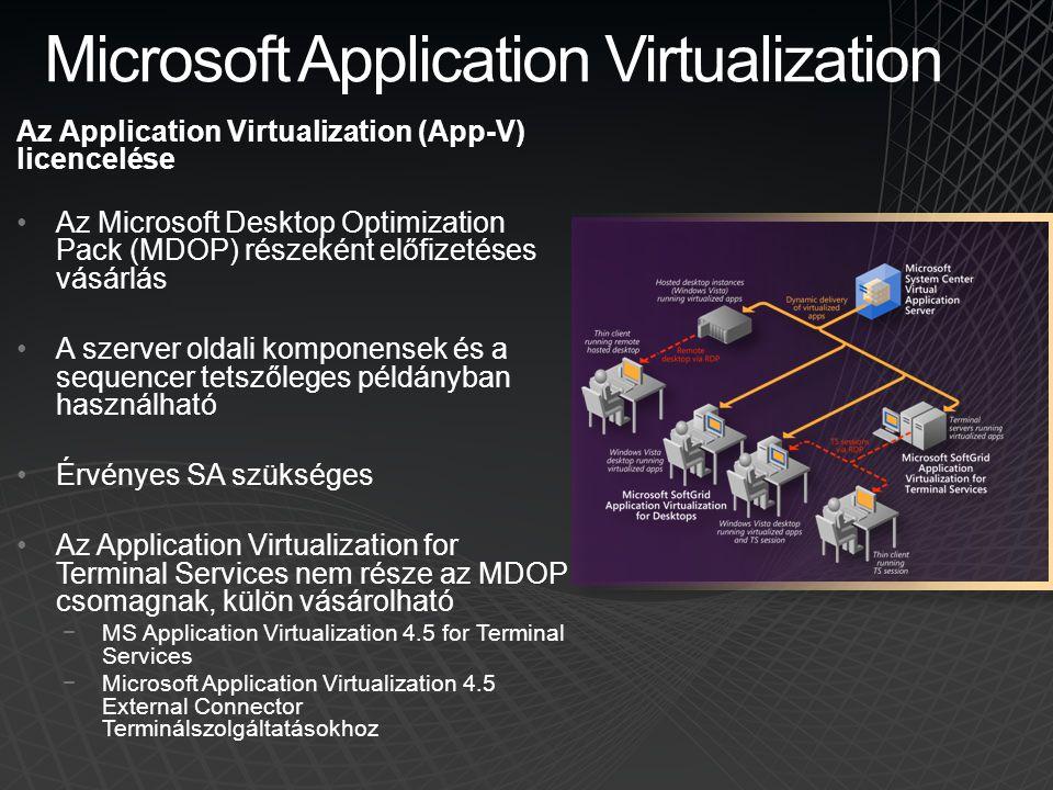 Microsoft Application Virtualization Az Application Virtualization (App-V) licencelése •Az Microsoft Desktop Optimization Pack (MDOP) részeként előfiz