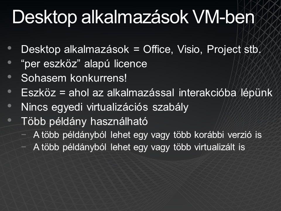 """Desktop alkalmazások VM-ben • Desktop alkalmazások = Office, Visio, Project stb. • """"per eszköz"""" alapú licence • Sohasem konkurrens! • Eszköz = ahol az"""