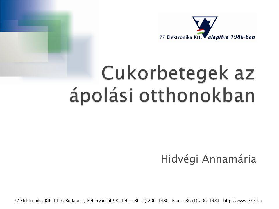 77 Elektronika Kft. 1116 Budapest, Fehérvári út 98. Tel.: +36 (1) 206-1480 Fax: +36 (1) 206-1481 http://www.e77.hu Hidvégi Annamária