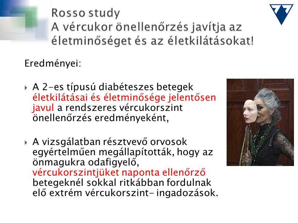 Eredményei:  A 2-es típusú diabéteszes betegek életkilátásai és életminősége jelentősen javul a rendszeres vércukorszint önellenőrzés eredményeként,