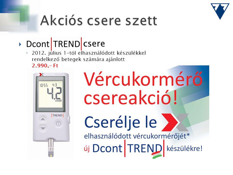  csere ◦ 2012. július 1-től elhasználódott készülékkel rendelkező betegek számára ajánlott 2.990,- Ft
