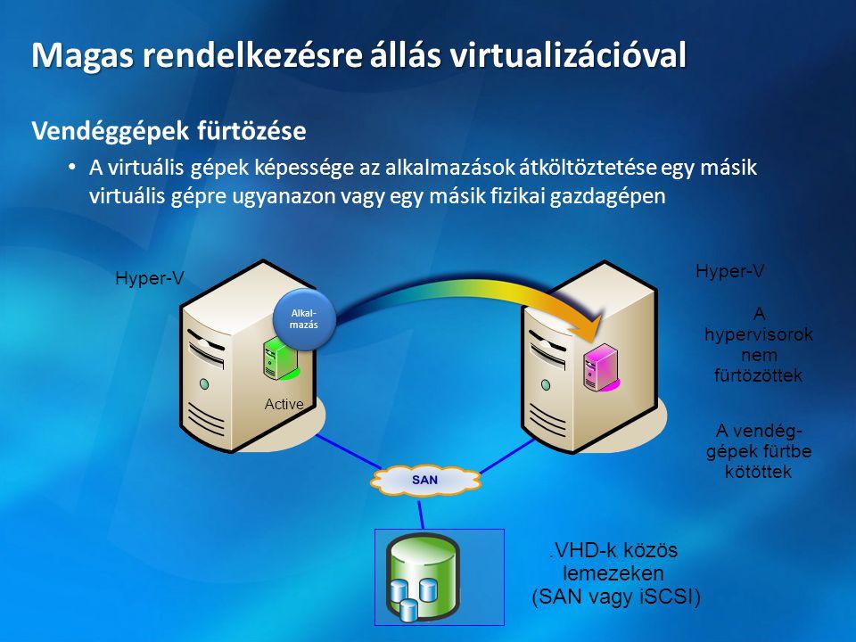 Magas rendelkezésre állás virtualizációval Vendéggépek fürtözése • A virtuális gépek képessége az alkalmazások átköltöztetése egy másik virtuális gépr
