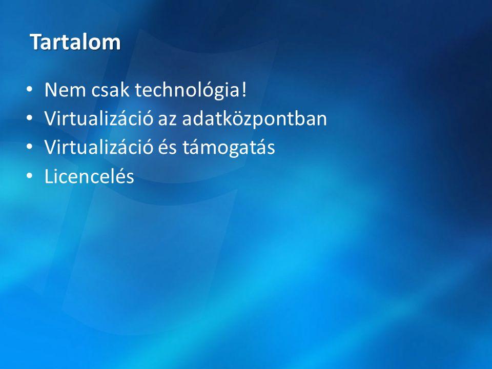 Könnyű konszolidáció virtuális könyezetbe Erőforrások jobb kihasználása IT költségvetés könnyítése Felügyelet Instance alapú licencelés a Windows Serverhez Korlátlan példány a Windows Server Data Center Edition és SQL Server Enterprise Edition esetén Licencelés Alkalmazások A telepítések felgyorsítása Alkalmazás- támogatás költségek csökkentése Az alkalmazások valósidejű szolgáltatások Virtual Server 2005 és Windows Server 2003 költséghatékony virtualizációs megoldás A Hyper-V a Windows Server 2008 egy komponense Infrastruktúra Mi a virtualizáció.