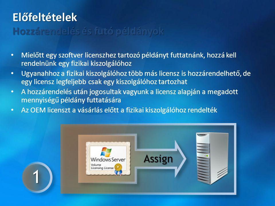 • Mielőtt egy szoftver licenszhez tartozó példányt futtatnánk, hozzá kell rendelnünk egy fizikai kiszolgálóhoz • Ugyanahhoz a fizikai kiszolgálóhoz tö