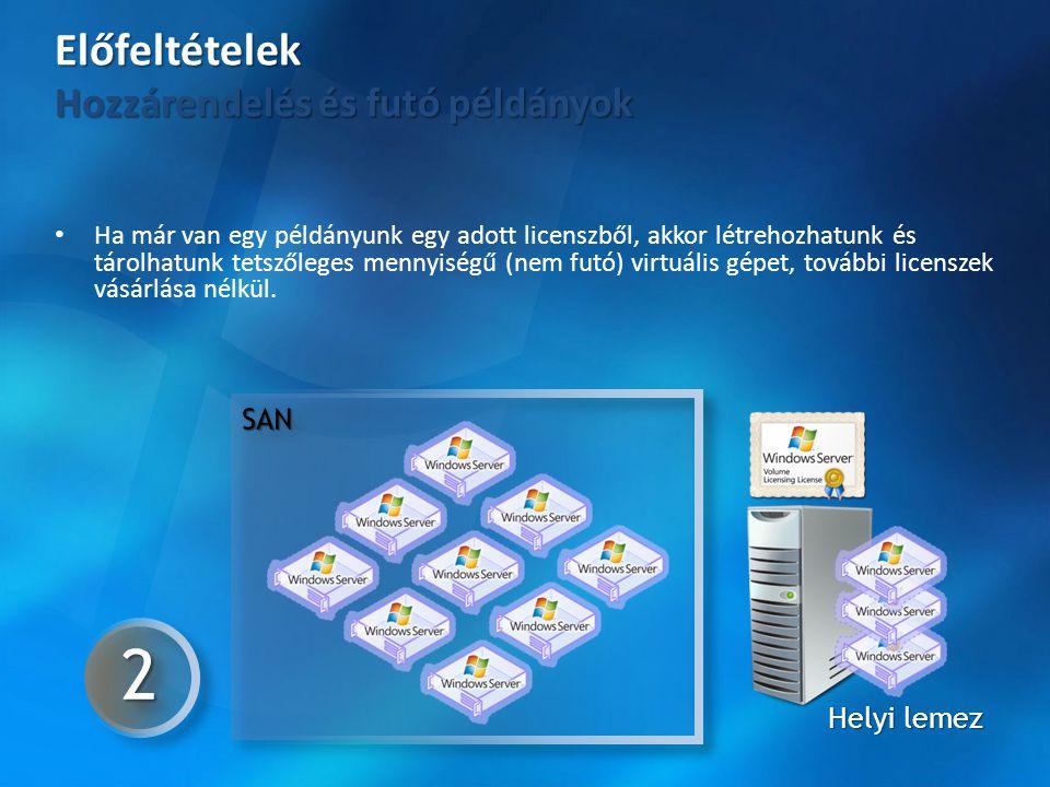 • Ha már van egy példányunk egy adott licenszből, akkor létrehozhatunk és tárolhatunk tetszőleges mennyiségű (nem futó) virtuális gépet, további licen