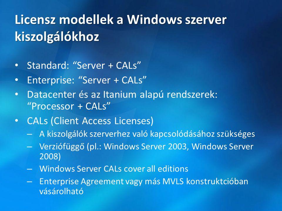 """Licensz modellek a Windows szerver kiszolgálókhoz • Standard: """"Server + CALs"""" • Enterprise: """"Server + CALs"""" • Datacenter és az Itanium alapú rendszere"""