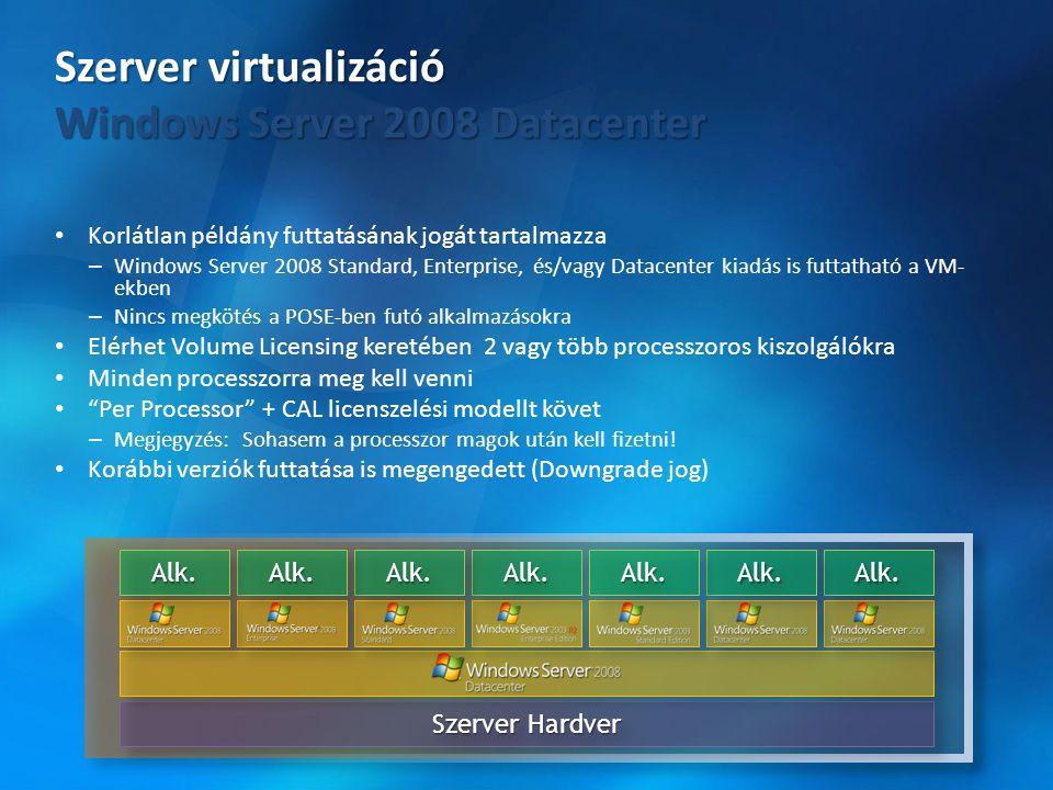 • Korlátlan példány futtatásának jogát tartalmazza – Windows Server 2008 Standard, Enterprise, és/vagy Datacenter kiadás is futtatható a VM- ekben – N