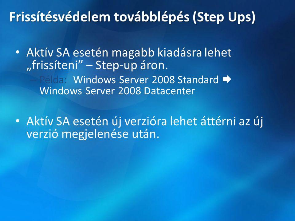 """Frissítésvédelem továbblépés (Step Ups) • Aktív SA esetén magabb kiadásra lehet """"frissíteni"""" – Step-up áron. – Példa: Windows Server 2008 Standard  W"""