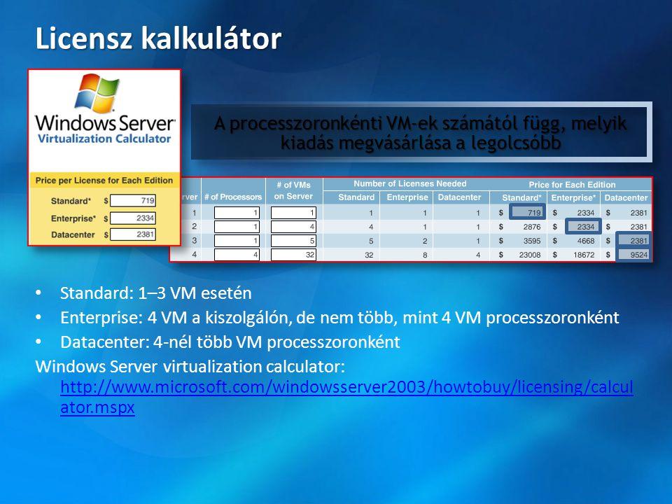 Licensz kalkulátor • Standard: 1–3 VM esetén • Enterprise: 4 VM a kiszolgálón, de nem több, mint 4 VM processzoronként • Datacenter: 4-nél több VM pro