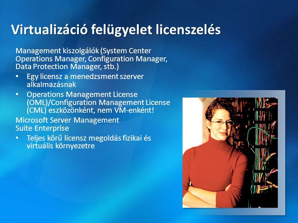 Virtualizáció felügyelet licenszelés Management kiszolgálók (System Center Operations Manager, Configuration Manager, Data Protection Manager, stb.) •