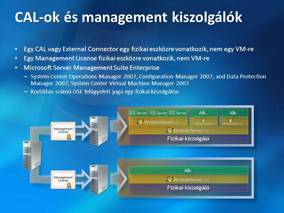 CAL-ok és management kiszolgálók • Egy CAL vagy External Connector egy fizikai eszközre vonatkozik, nem egy VM-re • Egy Management License fizikai esz