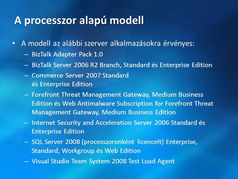 A processzor alapú modell • A modell az alábbi szerver alkalmazásokra érvényes: – BizTalk Adapter Pack 1.0 – BizTalk Server 2006 R2 Branch, Standard é