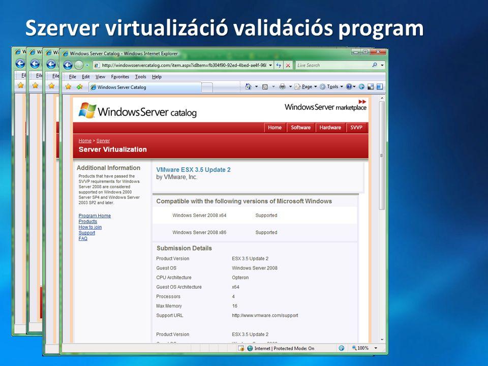 Windows Hypervisor Windows OS Microsoft támogatási szintek A Windows és az ellenőrzött hypervisor támogatott a Microsoft és a 3 rd party szállító által a TSANet* felhasználásával A Windows és a virtualizáció támogatott Microsoft nem támogatja a Windows nem ellenőrzött hypervisor felett** * A Validated hypervisor szállítója tagja lesz a Custom Virtualization group of TSAnet-nek.