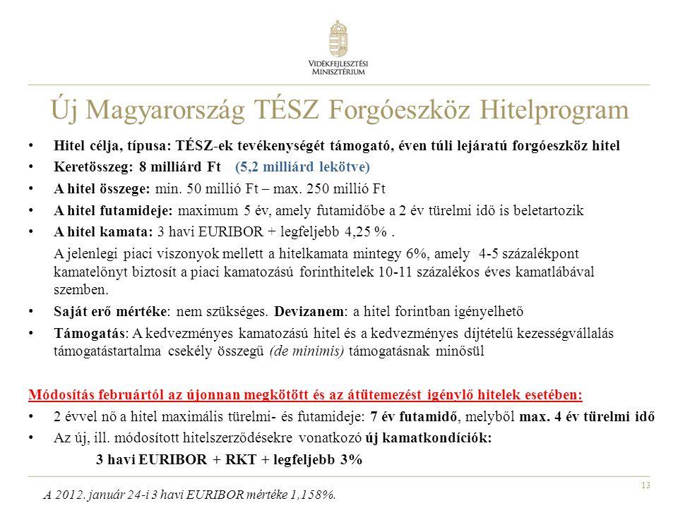 13 Új Magyarország TÉSZ Forgóeszköz Hitelprogram • Hitel célja, típusa: TÉSZ-ek tevékenységét támogató, éven túli lejáratú forgóeszköz hitel • Keretös