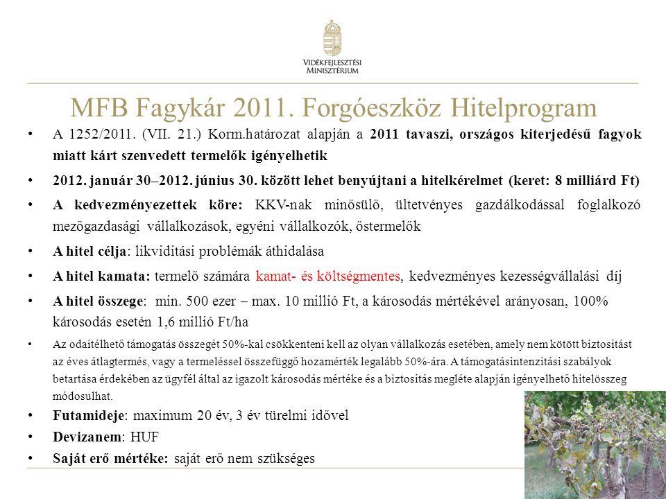 14 MFB Fagykár 2011. Forgóeszköz Hitelprogram • A 1252/2011. (VII. 21.) Korm.határozat alapján a 2011 tavaszi, országos kiterjedésű fagyok miatt kárt
