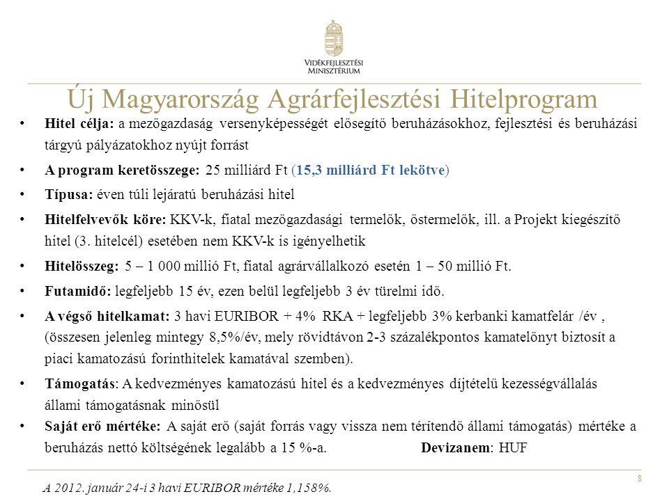 8 Új Magyarország Agrárfejlesztési Hitelprogram • Hitel célja: a mezőgazdaság versenyképességét elősegítő beruházásokhoz, fejlesztési és beruházási tá