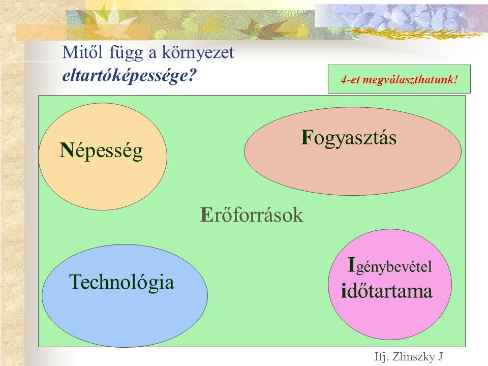 Erőforrások Mitől függ a környezet eltartóképessége.