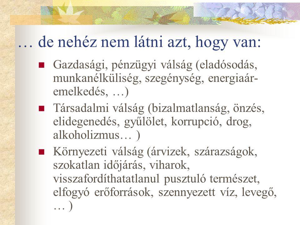 … de nehéz nem látni azt, hogy van:  Gazdasági, pénzügyi válság (eladósodás, munkanélküliség, szegénység, energiaár- emelkedés, …)  Társadalmi válság (bizalmatlanság, önzés, elidegenedés, gyűlölet, korrupció, drog, alkoholizmus… )  Környezeti válság (árvizek, szárazságok, szokatlan időjárás, viharok, visszafordíthatatlanul pusztuló természet, elfogyó erőforrások, szennyezett víz, levegő, … )